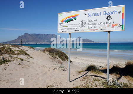 Sunset Beach Table Bay and Mountain in Cape Town South Africa - Stock Photo