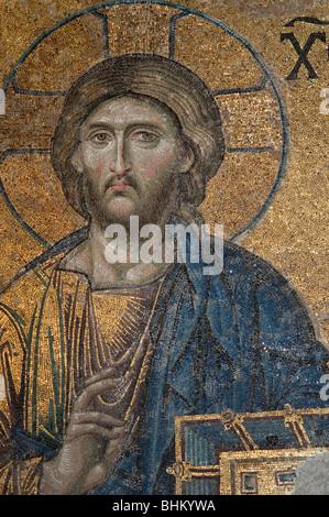 Die Figur des Jesus Christus in das 'Deesis' Mosaik, Hagia Sophia, Istanbul - Stockfoto