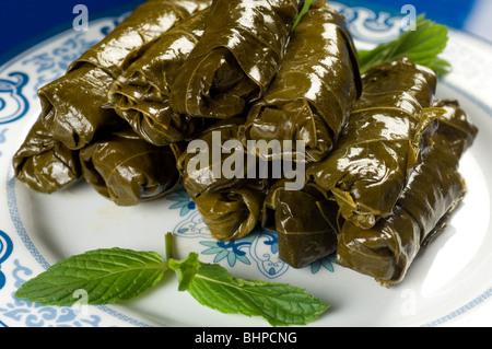 Stuffed vine leaves Beirut Lebanon Middle East - Stock Photo