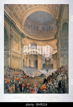 Interior of St Paul's Cathedral during the funeral of the Duke of Wellington, London, 1852 (1853).   Artist: William - Stock Photo