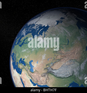 An exceptional quality photo-realistic rendered image of the Earth as seen from space on a background of stars - Stock Photo