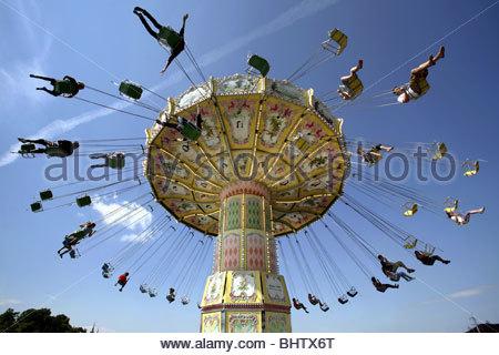 Kättingflygaren Swing Ride, Gröna Lund Amusement Park, Djurgården, Stockholm, Sweden - Stockfoto