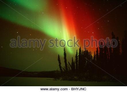 Polar lights on a sub zero night in Yukon Territory, Canada - Stock Photo