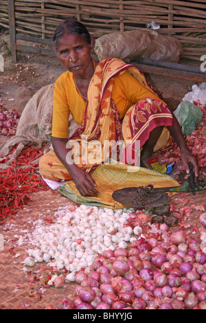 Indian Woman Selling Onions And Chilis In Kotogada, Orissa - Stock Photo