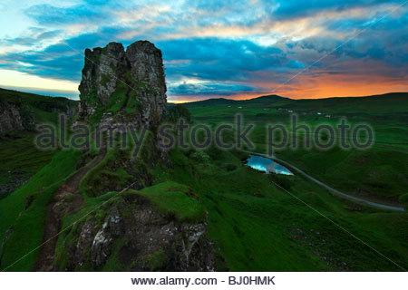 Mountain scenery at sunrise Europa western Europe great Britain Scotland Isle of Skye Uig Castle Ewen in the Fairy - Stock Photo