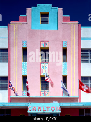 Carlton Hotel Art Deco architectural style building in the revitalized South Beach, Miami, Florida, USA - Stock Photo