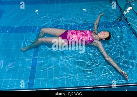 Pregnant Woman Swim Swimming Swims In A Swimming Pool Uk Stock Photo Royalty Free Image