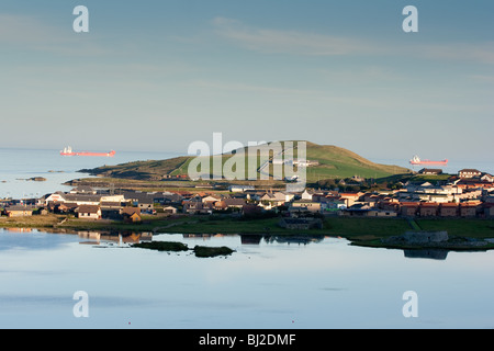 Sound village of Lerwick, Shetland. - Stock Photo