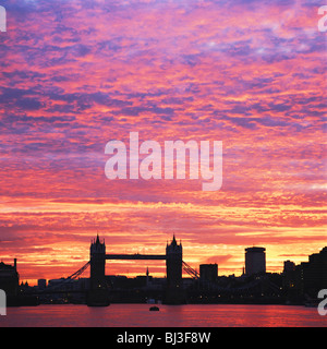 London, spectacular sunset over Tower Bridge and River Thames, England, UK, GB - Stock Photo