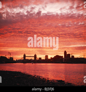 Spectacular London sunset over the River Thames and Tower Bridge, England, UK, GB - Stock Photo