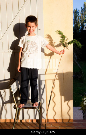 little boy standing on a chair - Stock Photo