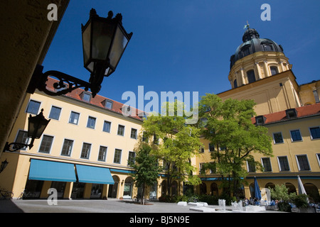 Courtyard behind the Theatinerkirche Munich, Germany - Stock Photo