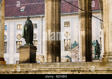 Odeonplatz Feldherrnhalle and Theatinerkirche Munich, Germany - Stock Photo