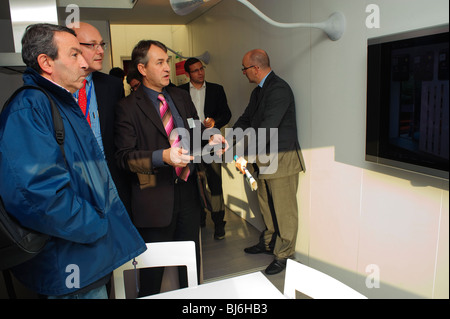 Paris, France, Businessman Using Computer in Home, Construction Equipment Trade Show, 'Sustainable Business' Eco - Stock Photo