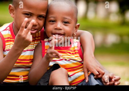Happy black family enjoying their free day - Stock Photo