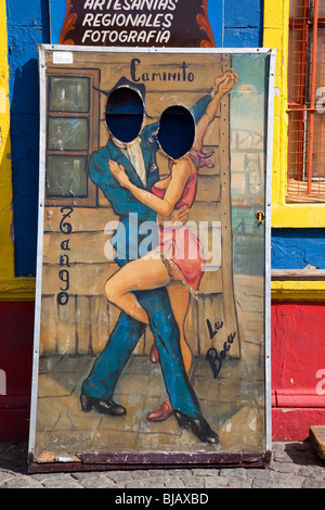 Painting of Tango Dancers on Caminito in La Boca, Buenos Aires, Argentina - Stock Photo