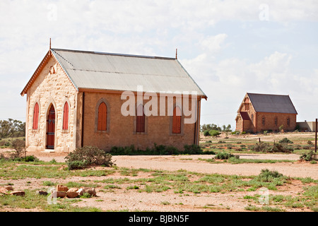 Methodist church with catholic church in the background, Silverton near Broken Hill, Outback Australia NSW - Stock Photo
