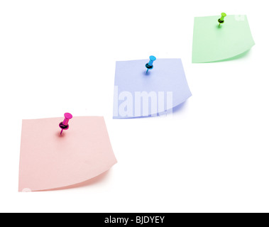 Post It Notes with Pushpins - Stock Photo