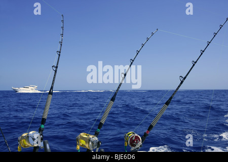 Big game fishing rods with reels on fishing boat mauritius for Tuna fishing pole