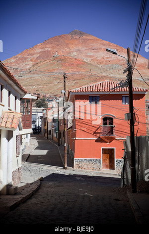 Colored street in Potosi and the Cerro Rico Silver Mine (The Bloody Mountain), Altiplano, Andes, Bolivia, South - Stock Photo