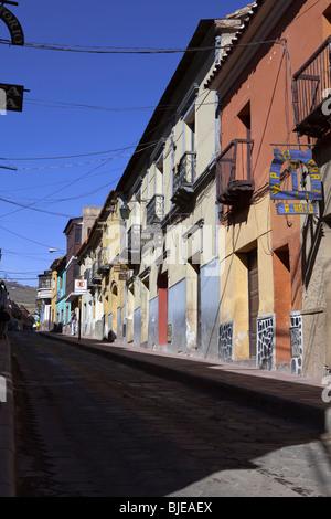 Colored street in Potosi, Altiplano, Andes, Bolivia, South America - Stock Photo