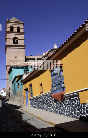 Cathedral and colored street in Potosi, Altiplano, Andes, Bolivia, South America - Stock Photo