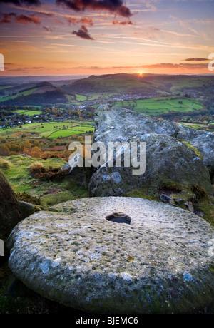 Sunset Over Curbar Edge, Peak District National Park, Derbyshire, England, UK - Stock Photo