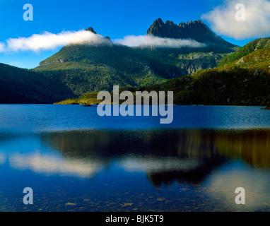 Cradle Mountain and Lake Dove, Cradle Mountain-Lake St. Clair National Park. Tasmania. Australia, Morning, 15 H - Stock Photo