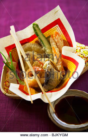 Vegetable and seafood tempura - Stock Photo