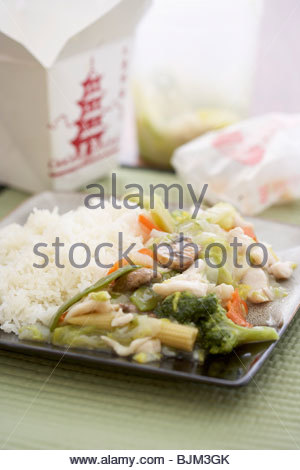 Vegetable chop suey with rice