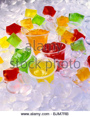 Jello Cups and Cubes on Ice - Stock Photo