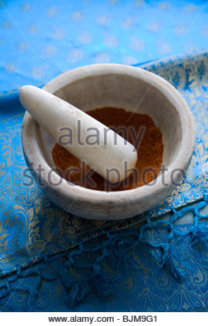 Chili Powder in a Mortar and Pestle - Stock Photo