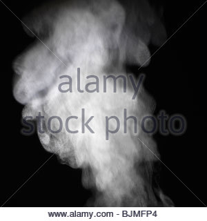 Steam against a black background - Stock Photo