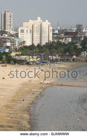 Mumbai beach and cityscape - Stock Photo