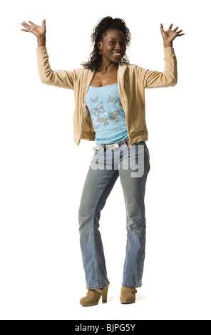 Woman holding up number one finger - Stock Photo