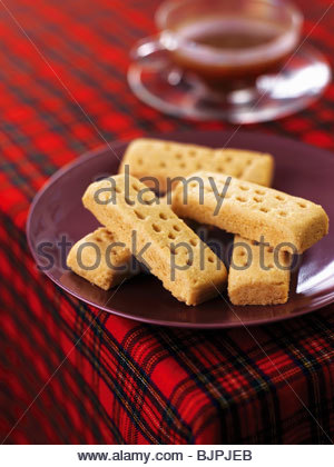Shortbread with a cup of tea - Stock Photo