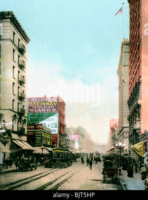 Spring Street, Los Angeles, California, USA, c1900s. - Stock Photo