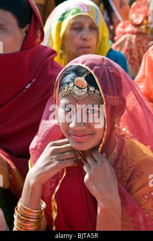 Indian girl wearing traditional costume.Jaisalmer.Rajasthan.India - Stock Photo