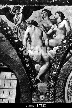 Cupid, Greek god of love, scene, Cupid and the Three Graces, fresco, from the cycle 'Cupid and Psyche' by Giovanni - Stock Photo