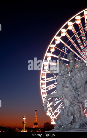 Paris, France, Christmas Lighting on Street, Place de la COncorde, Public Sculpture, 'Mercury on a Winged Horse' - Stock Photo