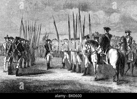 events, American Revolutionary War 1775 - 1783, surrender of the British at Yorktown, Virginia, 19.10.1781, handing - Stock Photo