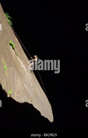 Rappelling in Mystery Canyon, Zion National Park, Utah. - Stock Photo