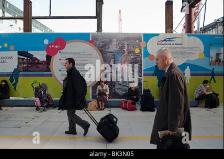 Paris, France, French Businessmen Walking in 'Gare d'Austerlitz' Train Station, - Stock Photo