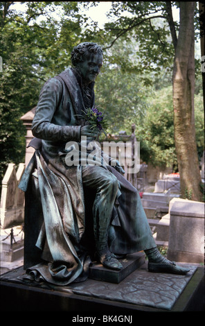 Funerary monument by Pierre Cartellier for Dominique Vivant, Baron de Denon at Pere Lachaise Cemetery in Paris, - Stock Photo