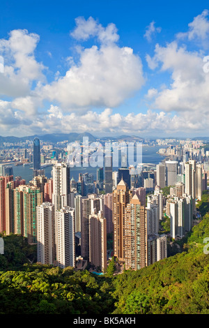 View from Victoria Peak, city skyline and Victoria Harbour, Hong Kong, China, Asia - Stock Photo