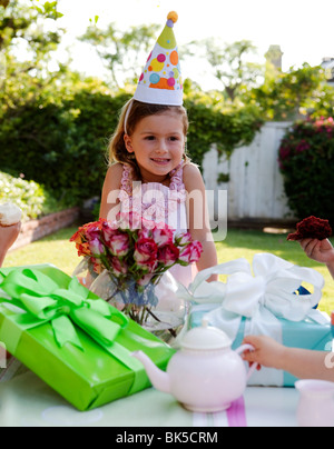 Girl at birthday party - Stock Photo