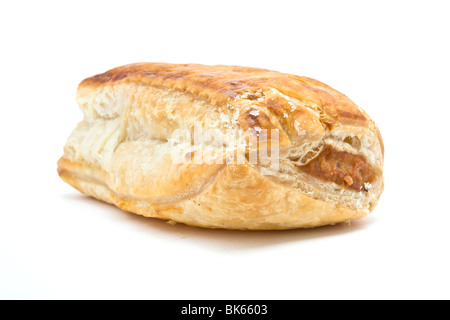 Golden Sausage Roll made from sausage meat and flaky puff pastry. - Stock Photo
