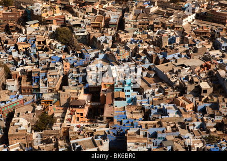 blue house in the beautiful city of jodhpur in rajasthan state in india - Stock Photo