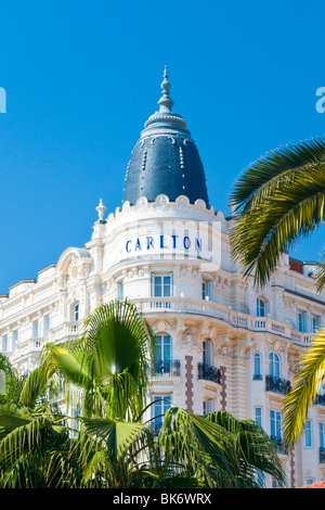 Cannes , Boulevard de la Croisette , corner facade & roof detail of the luxury Carlton Inter Continental Hotel with - Stock Photo