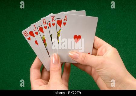 hand with playing cards - Stockfoto